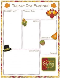 Thanksgiving Day Meal Planner