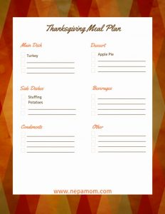 Thanksgiving Meal Planner Template