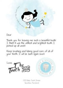 Tooth Fairy Last Baby Tooth Letter