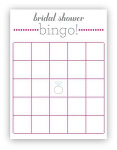 Blank Bridal Shower Bingo Cards