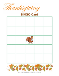 Blank Thanksgiving Bingo Cards
