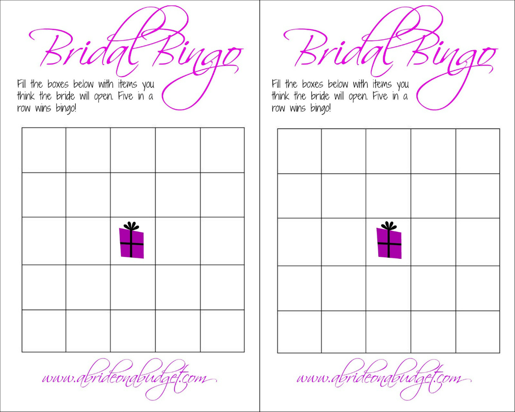 Blank Wedding Bingo Cards
