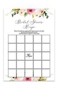 Bridal Shower Bingo Template Printable