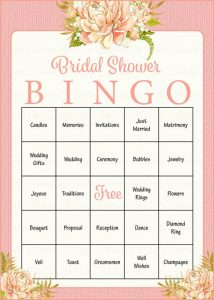 Bridal Shower Bingo Words