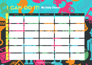 Chore Chart Free Printable for 5 Year Old