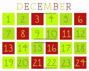 Countdown Calendar to Christmas Printable