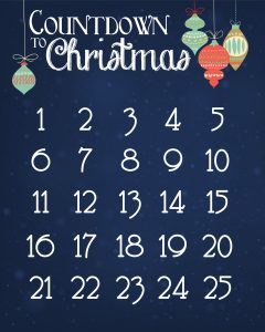 Countdown to Christmas Day Calendar to Print