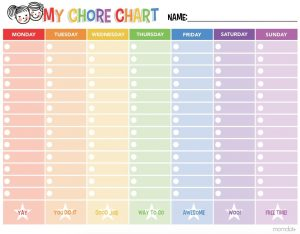 Fill in Chore Chart Printable