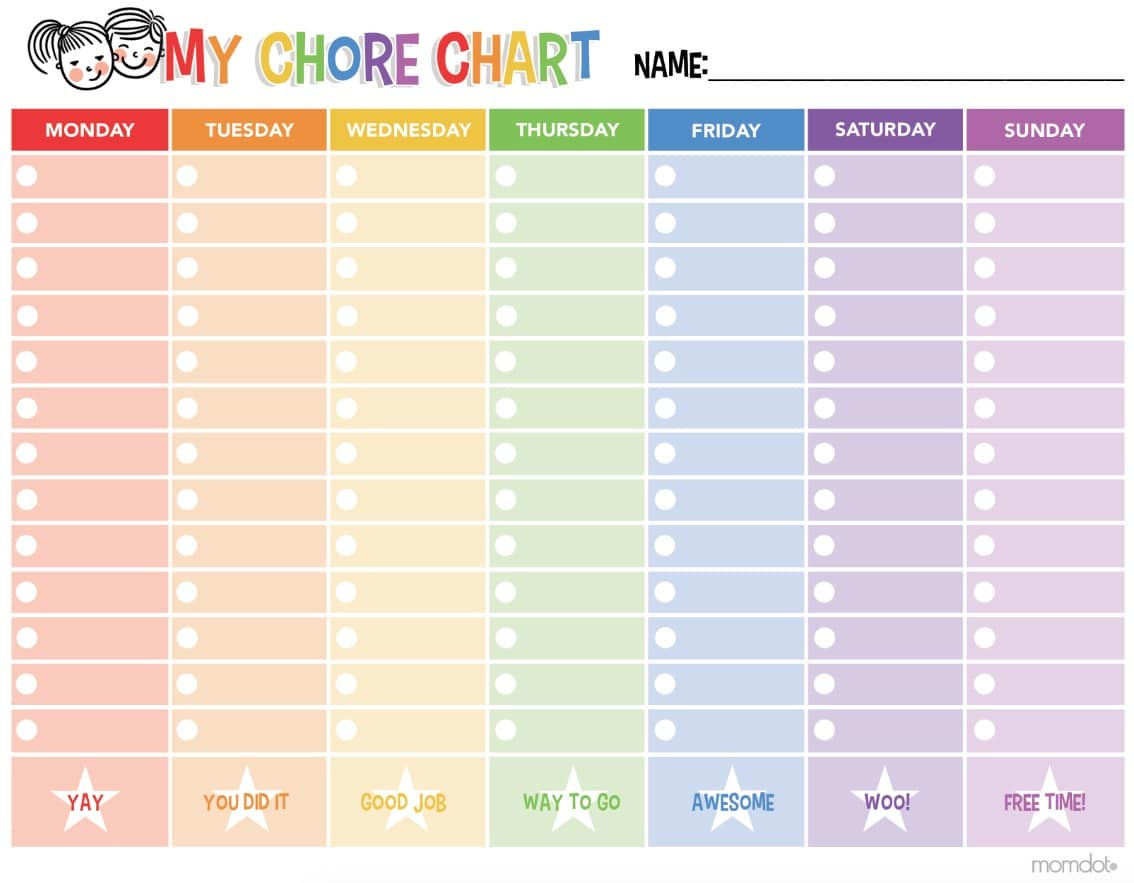 photo relating to Printable Job Chart called 46 Hassle-free Printable Chore Charts