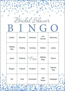 Free Printable Bridal Shower Bingo Template