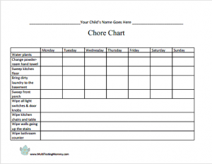 Free Printable Chore Chart for 6-9 Year Old