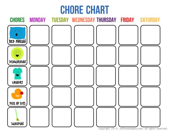 It's just an image of Free Printable Chore Charts within editable