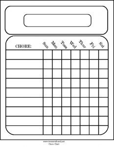 Free Printable Monthly Calendar Chore Charts