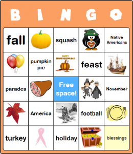 Free Printable Thanksgiving Bingo Cards for Large Groups