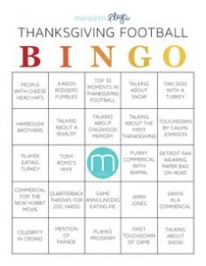 Free Printable Thanksgiving Day Football Bingo Cards