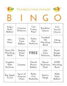 Funny Thanksgiving Bingo