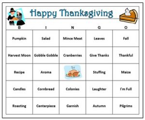Printable Bingo Cards for Thanksgiving