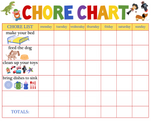Printable Chore Chart for 4 Year old