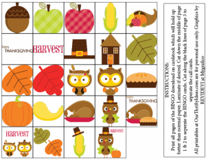 Printable Thanksgiving Bingo Games