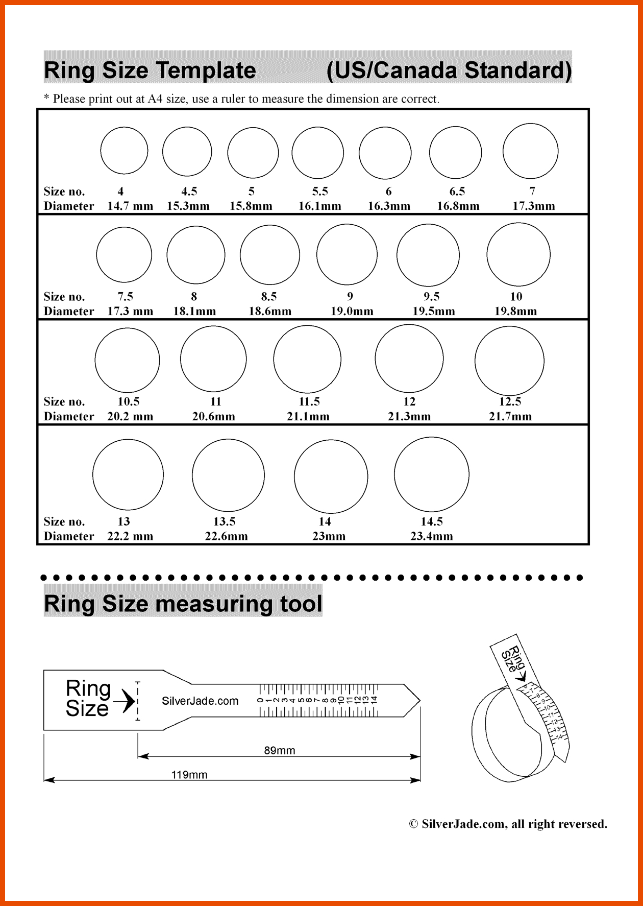 graphic regarding Printable Ring Size Chart titled 18 Instructive Printable Ring Sizers