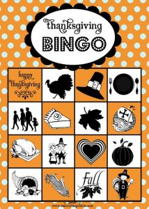 Thanksgiving Bingo Game for Kids