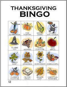 Thanksgiving Bingo Game to Print