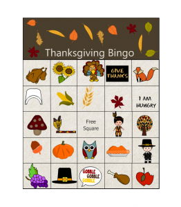 Thanksgiving Bingo for Kindergarten Classrooms