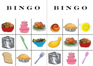 Thanksgiving Food Themed Dinner Bingo Cards