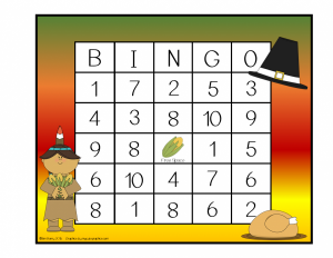 Thanksgiving Math Bingo