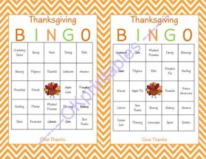 Thanksgiving Printable Bingo Games