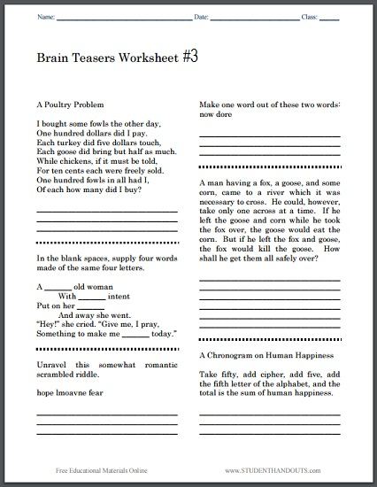 Printable Brain Teasers