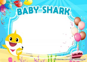 Baby Shark Birthday Invitation Free Template