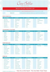 Beach Holiday Packing Checklist