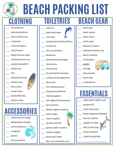 Checklist for Going to the Beach