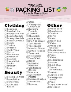 Checklist for Packing for a Beach Vacation