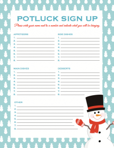 Christmas Sign Up Sheet for Potluck