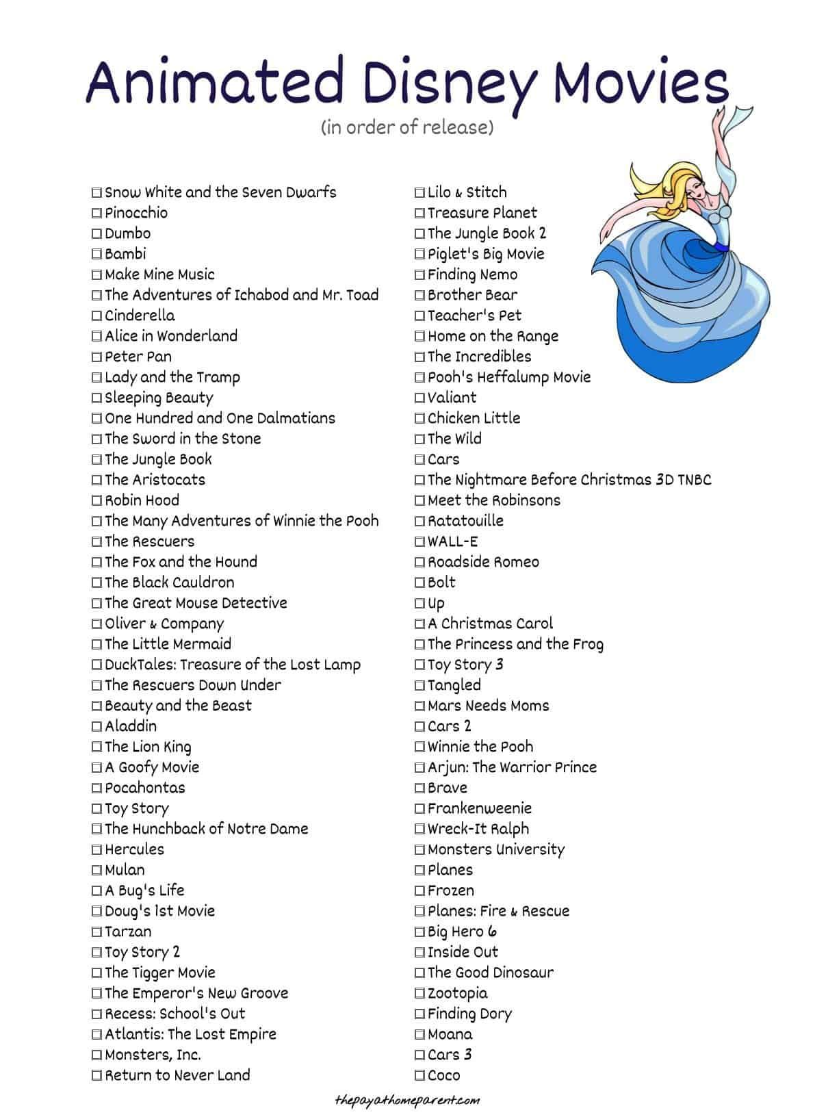 10 Must-see Disney Movie Checklists | KittyBabyLove.com
