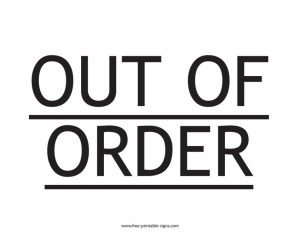 Out of Order Sign Printable Free
