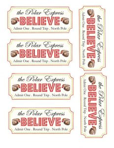 Polar Express Believe Ticket Printable