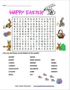 4th Grade Easter Word Search
