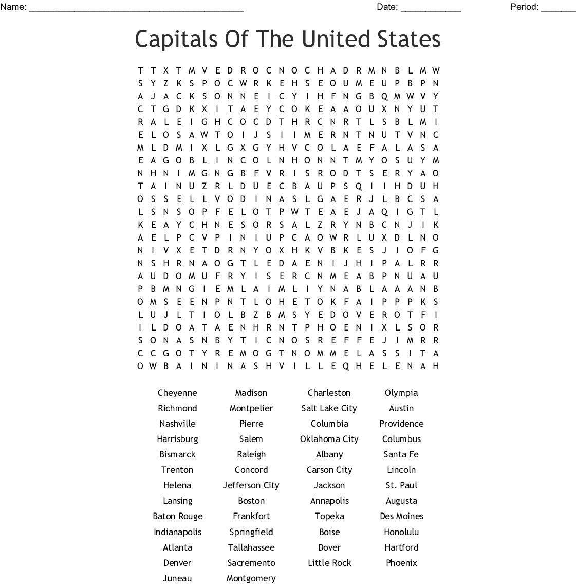14 Challenging 50 States Word Searches | KittyBabyLove.com