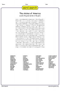 50 States of America Word Search