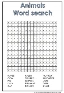Animal Word Search 1st Grade