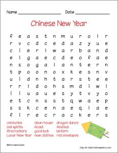 Chinese New Year Word Search for Kids