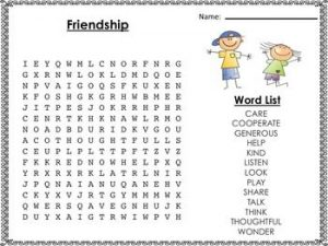 Easy Friendship Word Search