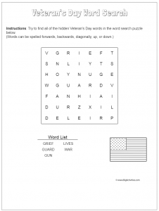 Easy Veterans Day Word Search