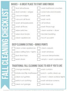 Fall Cleaning Checklist Image