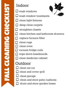 Fall Cleaning Checklist Photo