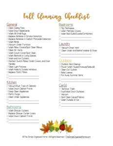 Fall Cleaning Checklist Picture