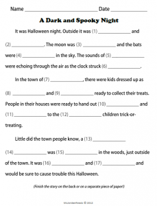 Fill in the Blank Halloween Stories